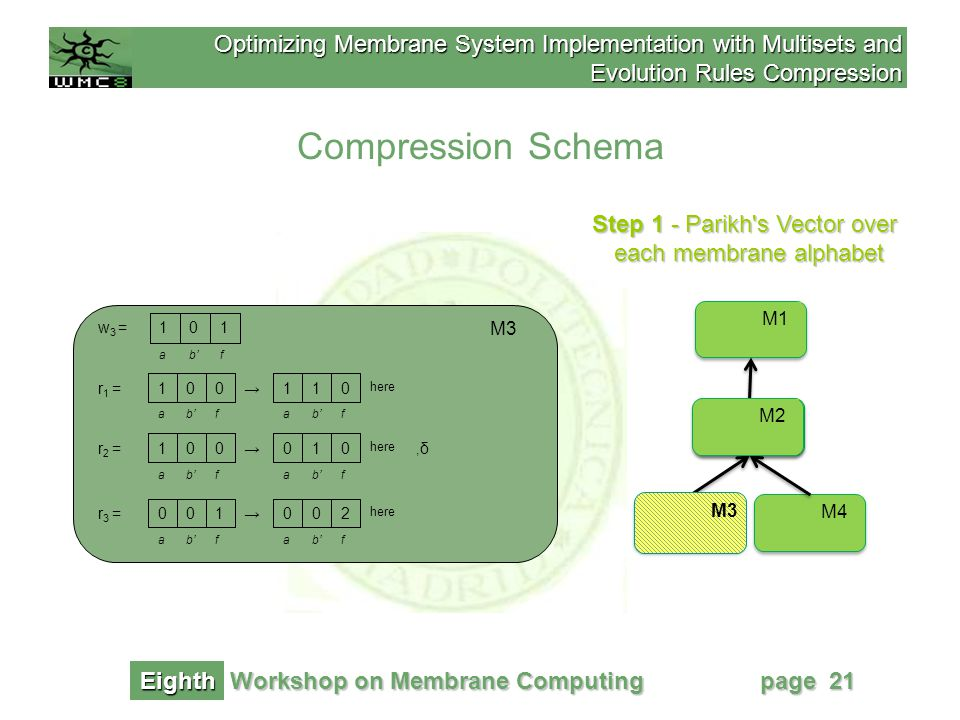 Optimizing Membrane System Implementation with Multisets and Evolution Rules Compression Workshop on Membrane Computing Eighth page 21 Step 1 - Parikh s Vector over each membrane alphabet Compression Schema M1 M2 M4M3 M2 M3