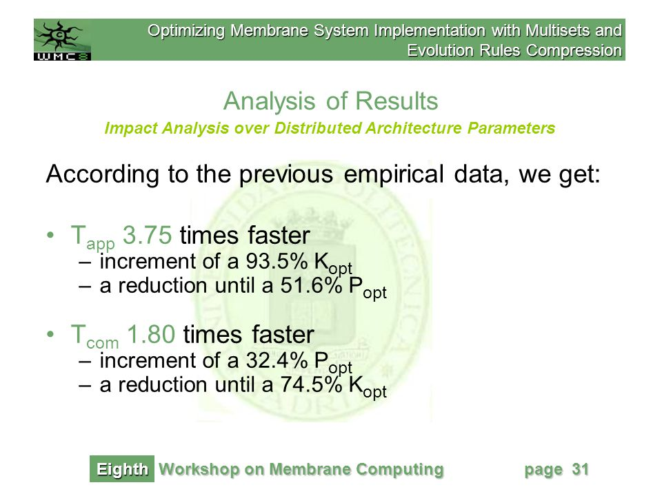 Optimizing Membrane System Implementation with Multisets and Evolution Rules Compression Workshop on Membrane Computing Eighth page 31 Analysis of Results Impact Analysis over Distributed Architecture Parameters According to the previous empirical data, we get: T app 3.75 times faster –increment of a 93.5% K opt –a reduction until a 51.6% P opt T com 1.80 times faster –increment of a 32.4% P opt –a reduction until a 74.5% K opt