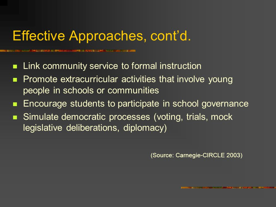 Effective Approaches, cont'd. Link community service to formal instruction Promote extracurricular activities that involve young people in schools or