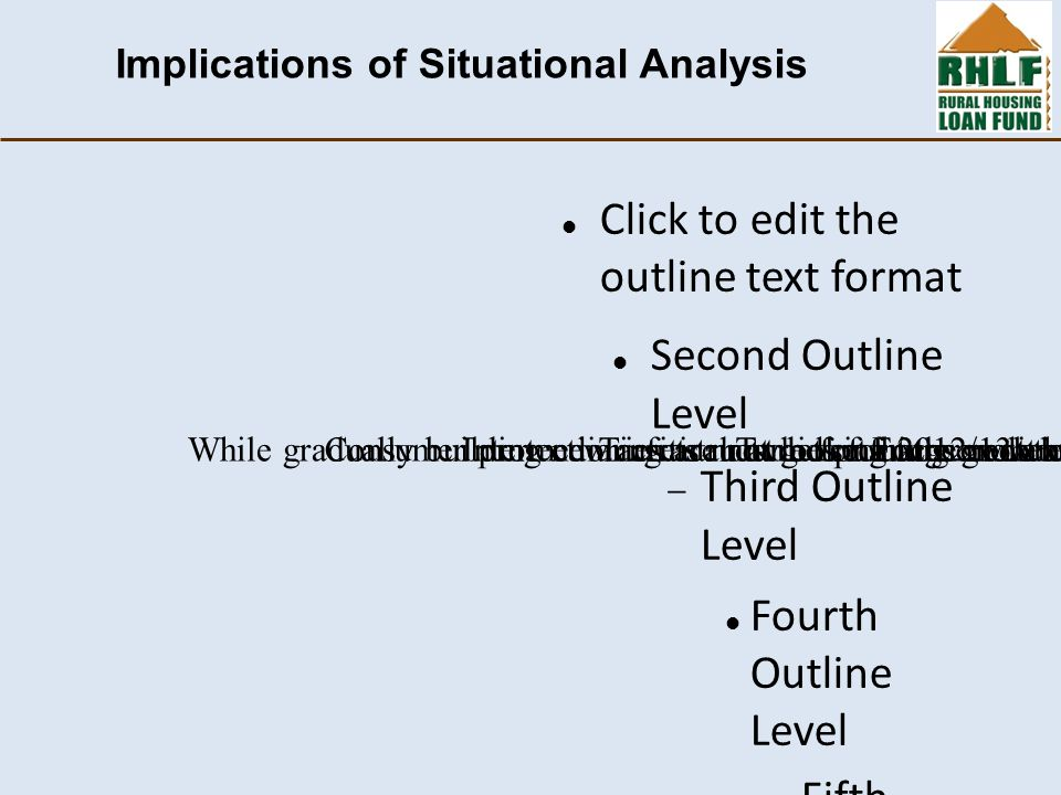 Click to edit the outline text format Second Outline Level  Third Outline Level Fourth Outline Level  Fifth Outline Level  Sixth Outline Level  Seventh Outline Level  Eighth Outline Level Ninth Outline LevelClick to edit Master text styles – Second level Third level – Fourth level » Fifth level Implications of Situational Analysis Targets must be set in the context of these economic realitiesTargets for 2012/13 are still on the conservative sideIntermediaries are not looking at growth but they need to continue focusing on improving portfolio qualityConsumer protection critical: avoid pushing credit and then looking at portfolio as sub-prime laterFocus more on supporting intermediaries with sound infrastructure to achieve impactWhile gradually building new infrastructure for future growth