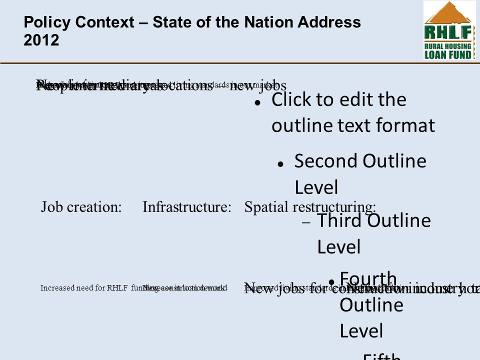 Click to edit the outline text format Second Outline Level  Third Outline Level Fourth Outline Level  Fifth Outline Level  Sixth Outline Level  Seventh Outline Level  Eighth Outline Level Ninth Outline LevelClick to edit Master text styles – Second level Third level – Fourth level » Fifth level Policy Context – State of the Nation Address 2012 Infrastructure: Increased utilities Loans for connections New construction work Spatial restructuring: People in new areasNew intermediary locations – new jobs New low income home owners in new areasNew jobs for construction industry targeting our market Job creation: Increase in low income home owners Increase in loan demandIncreased need for RHLF funding Higher impact by RHLF and improved living standards in our market Improved living standards in our impact area
