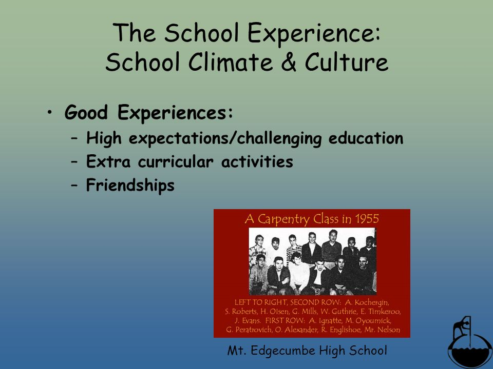The School Experience: School Climate & Culture Good Experiences: –High expectations/challenging education –Extra curricular activities –Friendships Mt.