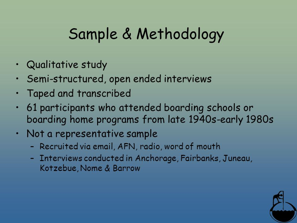 Sample & Methodology Qualitative study Semi-structured, open ended interviews Taped and transcribed 61 participants who attended boarding schools or b