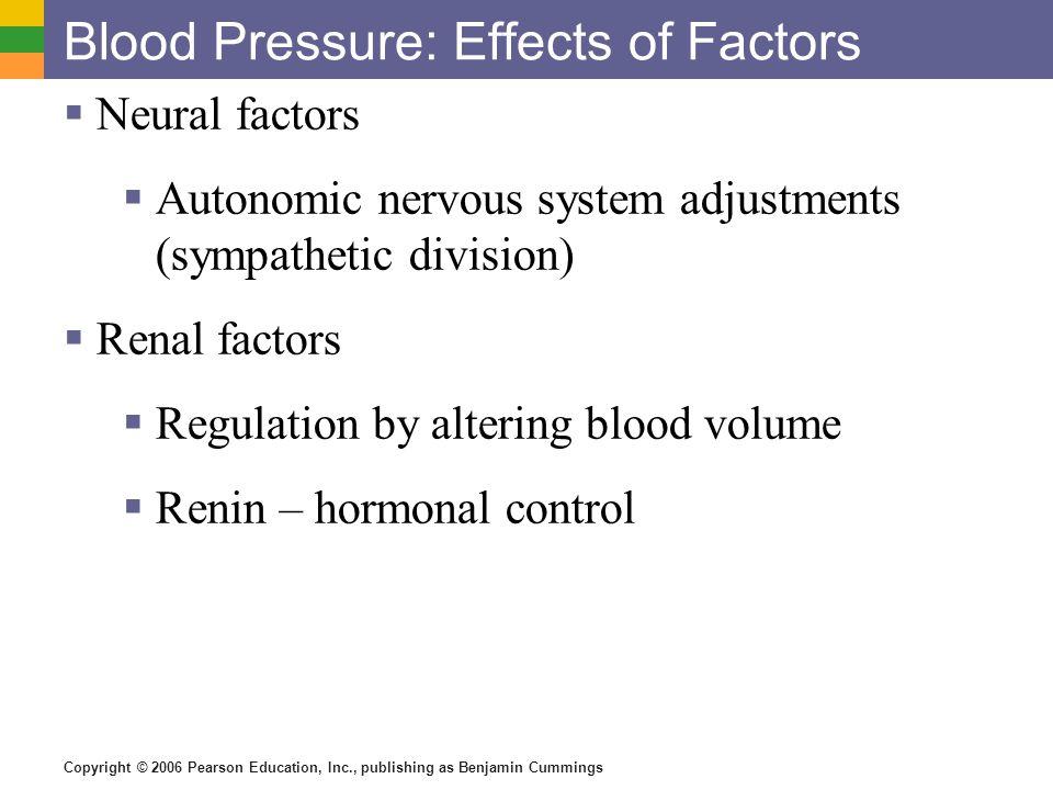 Copyright © 2006 Pearson Education, Inc., publishing as Benjamin Cummings Blood Pressure: Effects of Factors  Neural factors  Autonomic nervous syst