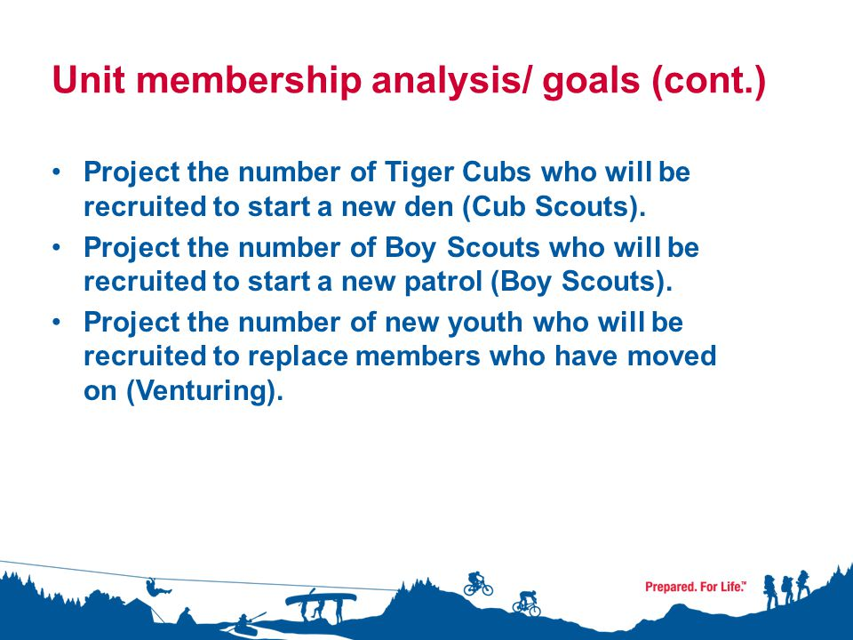Unit membership analysis/ goals (cont.) Project the number of Tiger Cubs who will be recruited to start a new den (Cub Scouts).