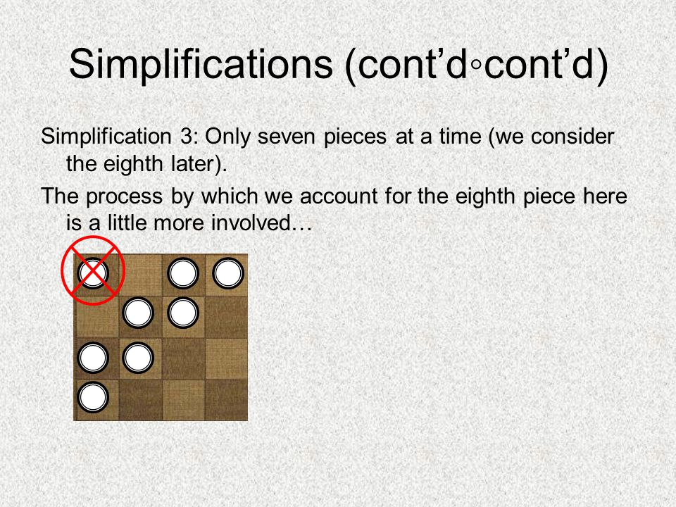 Simplifications (cont'd ◦ cont'd) Simplification 3: Only seven pieces at a time (we consider the eighth later).