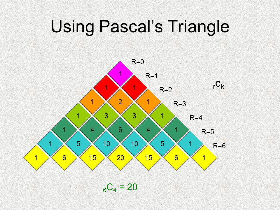 Using Pascal's Triangle 1 11 211 33 6 1 4 10 1 5 4 5 1 1 11 201566 11 R=5 R=1 R=2 R=3 R=4 R=0 R=6 6 C 4 = 20 rckrck