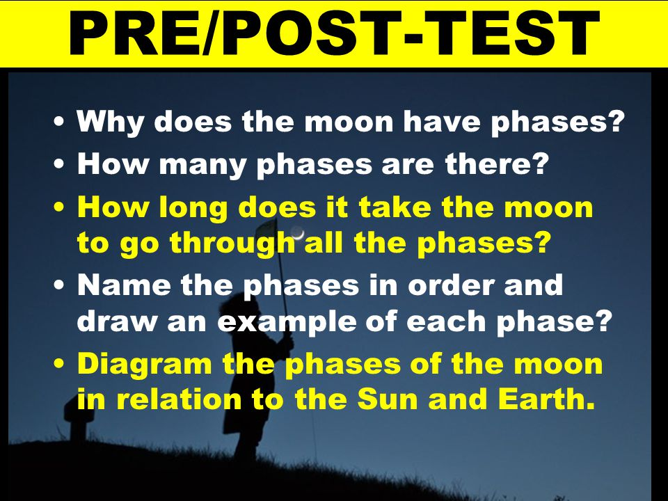 PRE/POST-TEST Why does the moon have phases? How many phases are there? How long does it take the moon to go through all the phases? Name the phases i