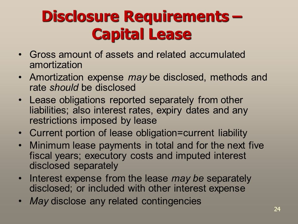 24 Gross amount of assets and related accumulated amortization Amortization expense may be disclosed, methods and rate should be disclosed Lease oblig