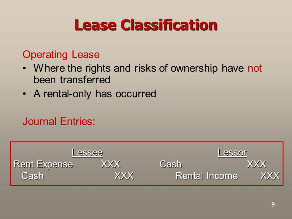 30 Step 1: Calculate the payment required to provide lessor with required rate of return Cost/FMV of asset to be recovered $100,000 Less: PV of expected residual value -0- Amount to be recovered through lease payments $100,000 Calculation of Lease Payment by Lessor