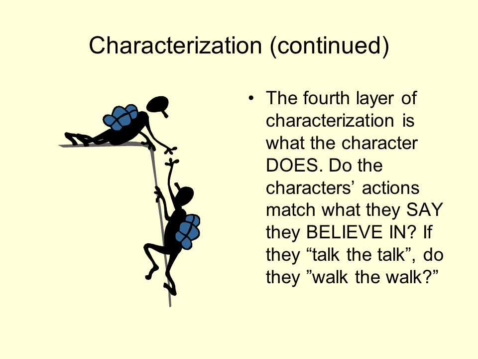 Characterization (continued) The fifth and last layer of characterization is the INTERACTION between characters.