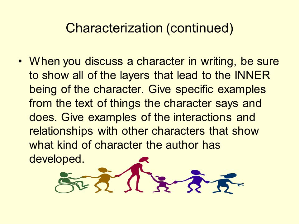 Characters Develop Don't forget to explain how your character has grown and changed.