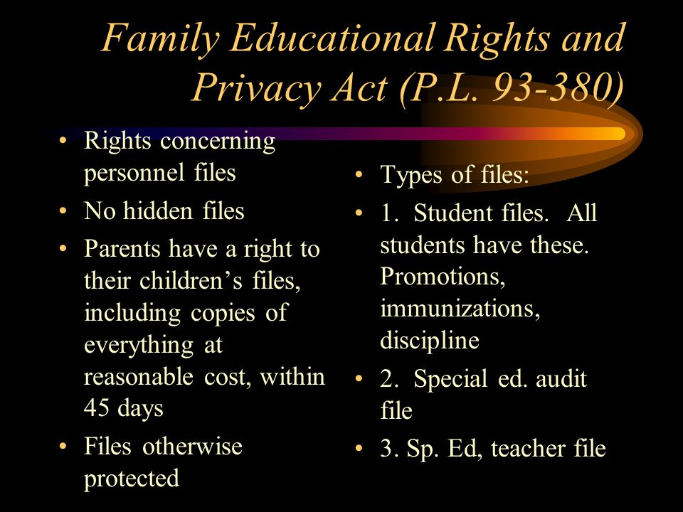Family Educational Rights and Privacy Act (P.L.