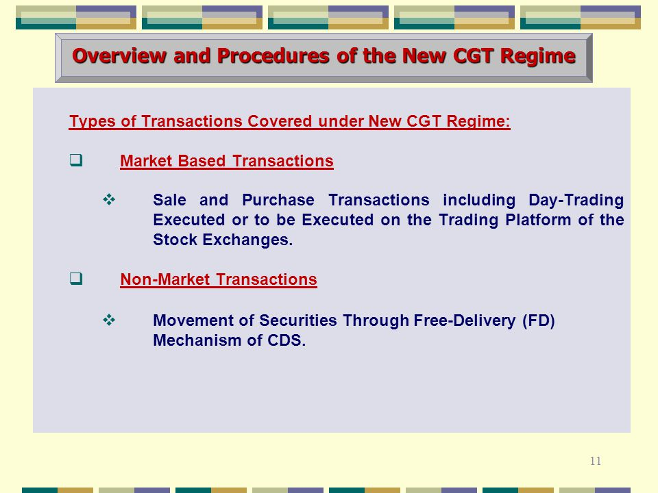 Types of Transactions Covered under New CGT Regime:  Market Based Transactions  Sale and Purchase Transactions including Day-Trading Executed or to be Executed on the Trading Platform of the Stock Exchanges.