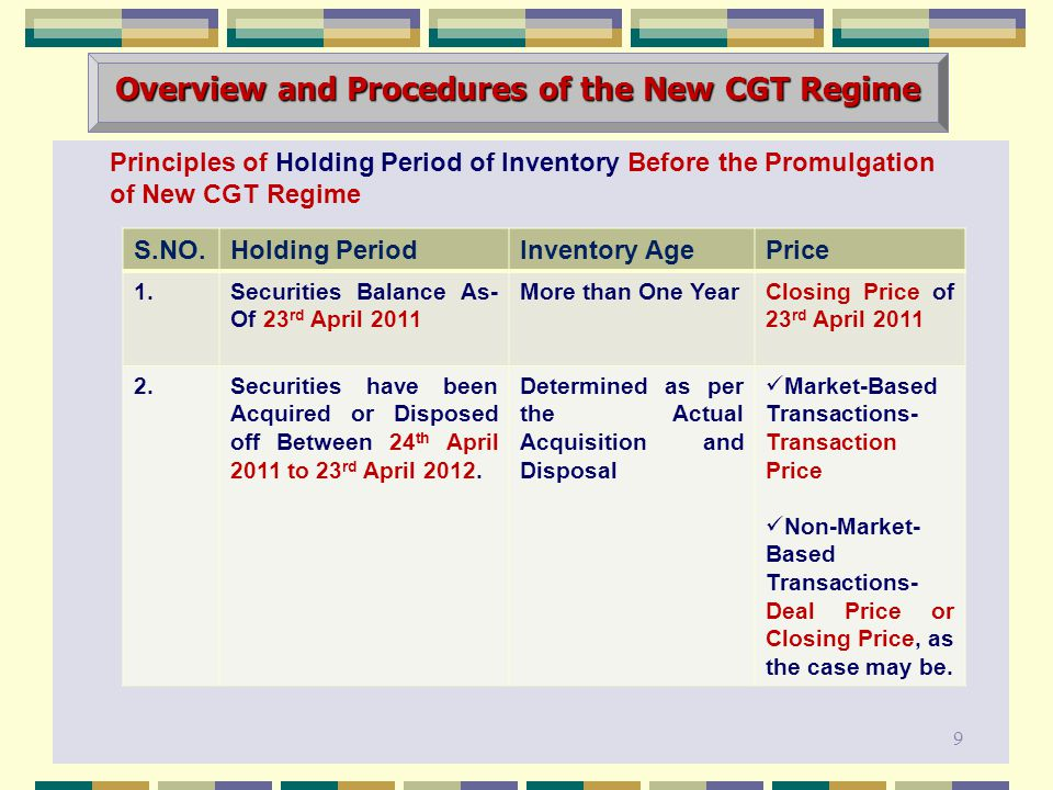 Principles of Holding Period of Inventory Before the Promulgation of New CGT Regime Overview and Procedures of the New CGT Regime 9 S.NO.Holding PeriodInventory AgePrice 1.Securities Balance As- Of 23 rd April 2011 More than One YearClosing Price of 23 rd April 2011 2.Securities have been Acquired or Disposed off Between 24 th April 2011 to 23 rd April 2012.