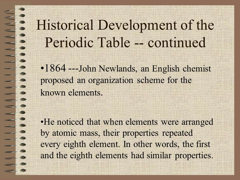 Historical Development of the Periodic Table -- continued 1864 --- John Newlands, an English chemist proposed an organization scheme for the known ele
