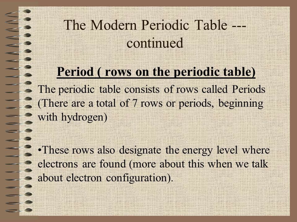 The Modern Periodic Table --- continued Period ( rows on the periodic table) The periodic table consists of rows called Periods (There are a total of