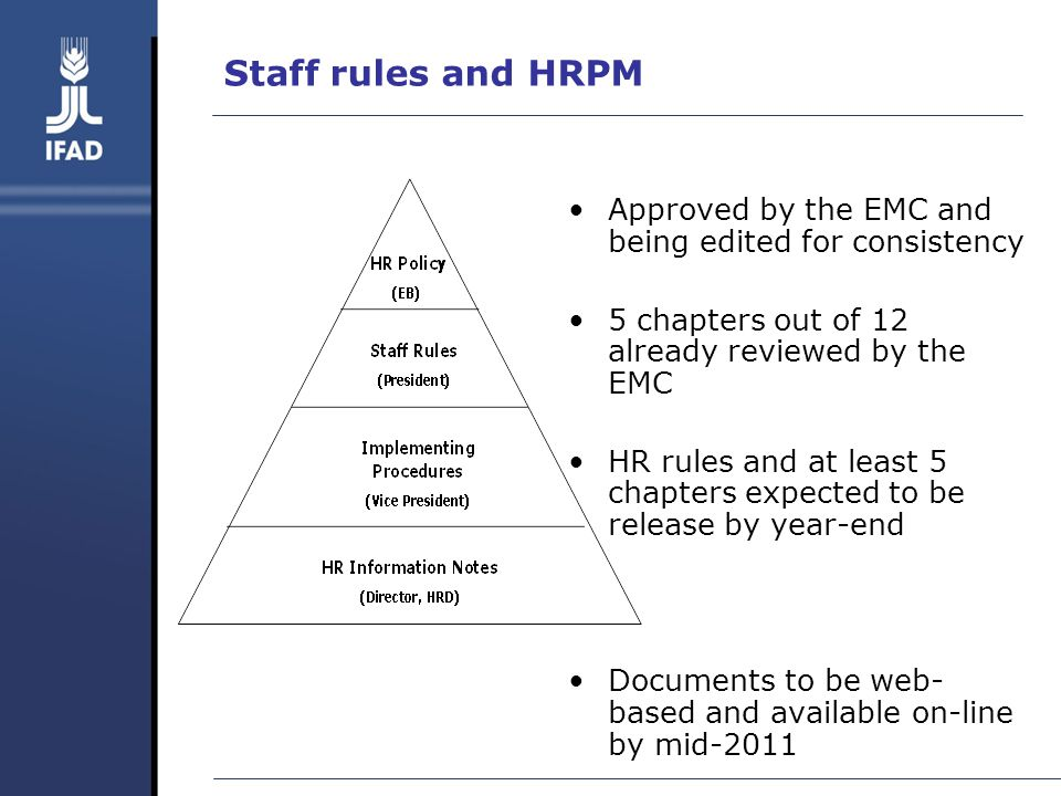 Staff rules and HRPM Approved by the EMC and being edited for consistency 5 chapters out of 12 already reviewed by the EMC HR rules and at least 5 chapters expected to be release by year-end Documents to be web- based and available on-line by mid-2011