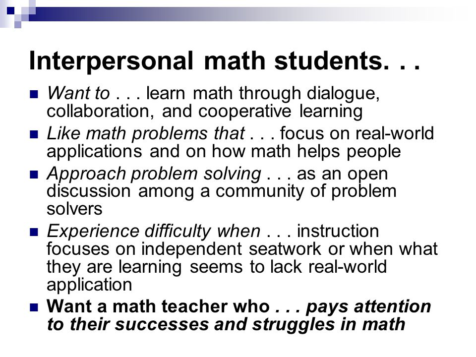 Interpersonal math students... Want to...