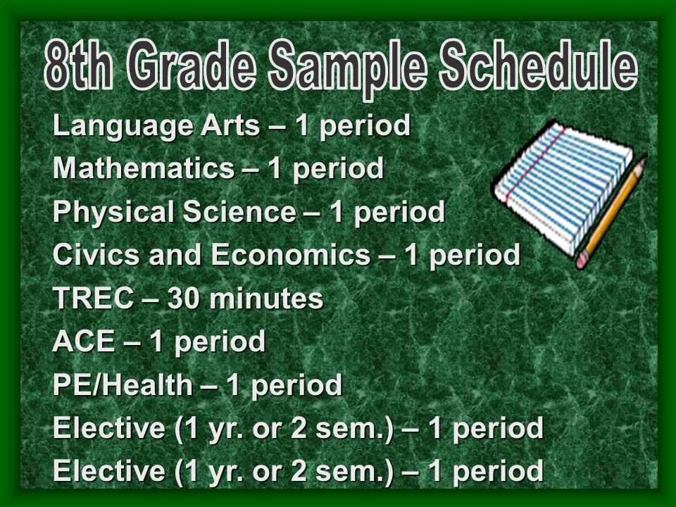 Language Arts – 1 period Mathematics – 1 period Physical Science – 1 period Civics and Economics – 1 period TREC – 30 minutes ACE – 1 period PE/Health – 1 period Elective (1 yr.