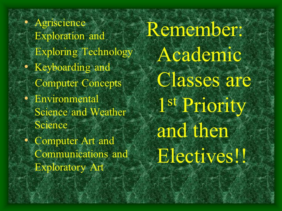 Agriscience Exploration and Exploring Technology Keyboarding and Computer Concepts Environmental Science and Weather Science Computer Art and Communications and Exploratory Art Remember: Academic Classes are 1 st Priority and then Electives!!