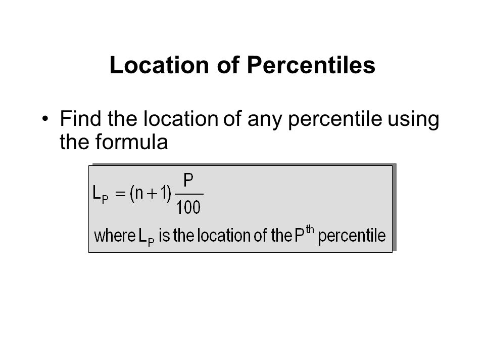 Find the location of any percentile using the formula Location of Percentiles