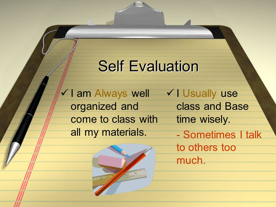 Self Evaluation Usually I actively participate in class discussion and activities.