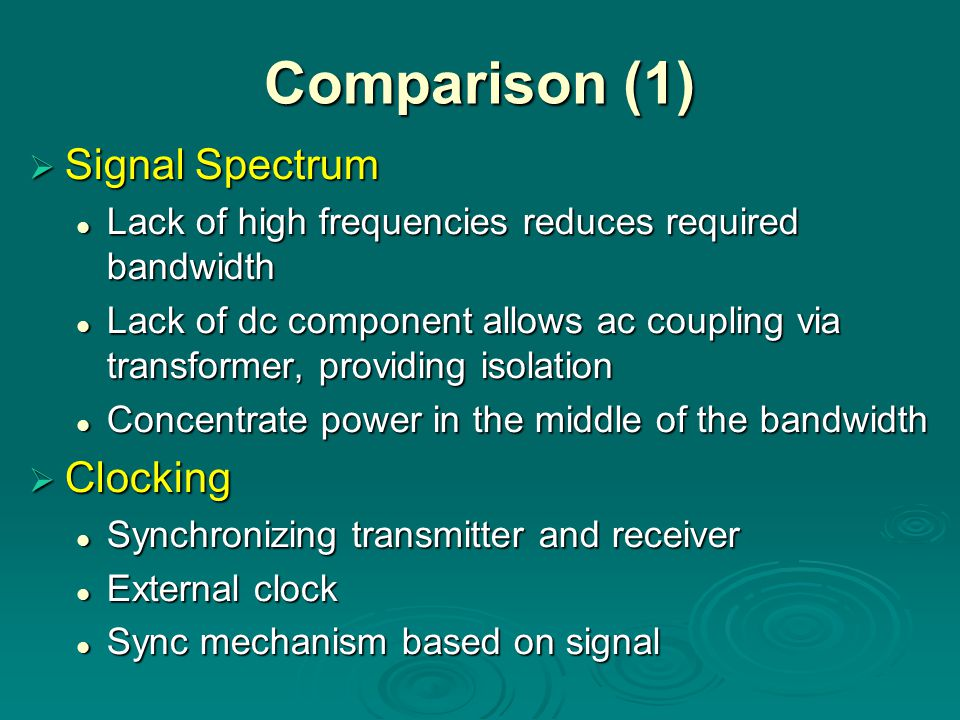 Comparison (1)  Signal Spectrum Lack of high frequencies reduces required bandwidth Lack of high frequencies reduces required bandwidth Lack of dc component allows ac coupling via transformer, providing isolation Lack of dc component allows ac coupling via transformer, providing isolation Concentrate power in the middle of the bandwidth Concentrate power in the middle of the bandwidth  Clocking Synchronizing transmitter and receiver Synchronizing transmitter and receiver External clock External clock Sync mechanism based on signal Sync mechanism based on signal