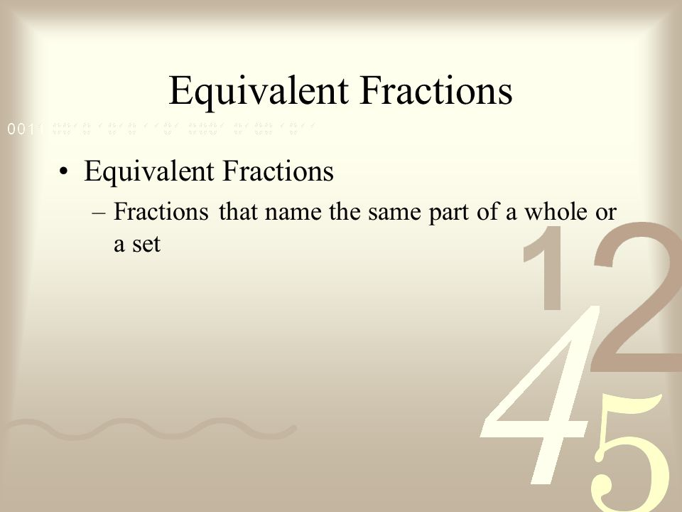 Equivalent Fractions –Fractions that name the same part of a whole or a set