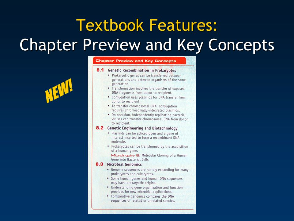 Textbook Features: Chapter Preview and Key Concepts NEW!