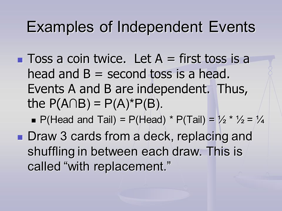 Examples of Independent Events Toss a coin twice. Let A = first toss is a head and B = second toss is a head. Events A and B are independent. Thus, th