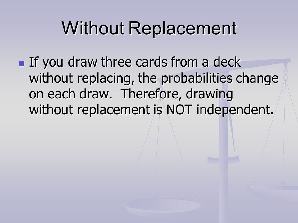 Without Replacement If you draw three cards from a deck without replacing, the probabilities change on each draw. Therefore, drawing without replaceme
