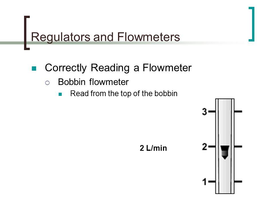 Regulators and Flowmeters Correctly Reading a Flowmeter  Bobbin flowmeter Read from the top of the bobbin 2 L/min