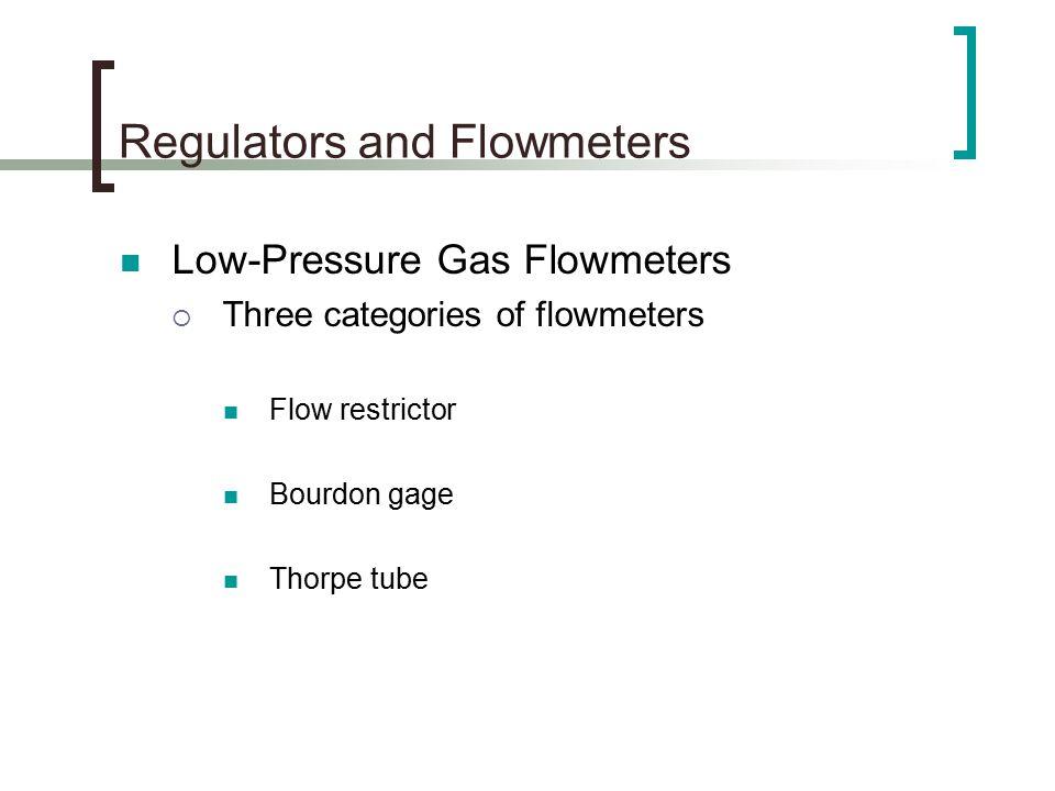 Regulators and Flowmeters Low-Pressure Gas Flowmeters  Three categories of flowmeters Flow restrictor Bourdon gage Thorpe tube