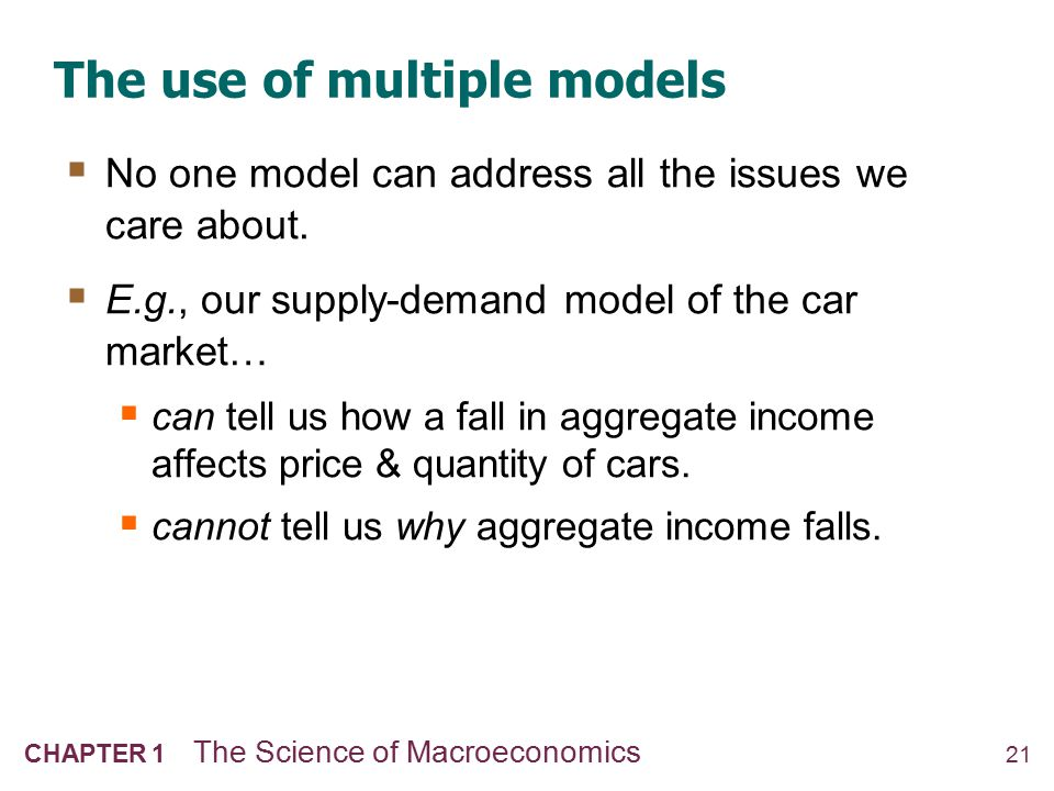 21 CHAPTER 1 The Science of Macroeconomics The use of multiple models  No one model can address all the issues we care about.  E.g., our supply-dema