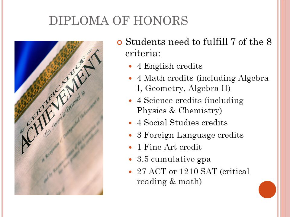 DIPLOMA OF HONORS Students need to fulfill 7 of the 8 criteria: 4 English credits 4 Math credits (including Algebra I, Geometry, Algebra II) 4 Science credits (including Physics & Chemistry) 4 Social Studies credits 3 Foreign Language credits 1 Fine Art credit 3.5 cumulative gpa 27 ACT or 1210 SAT (critical reading & math)
