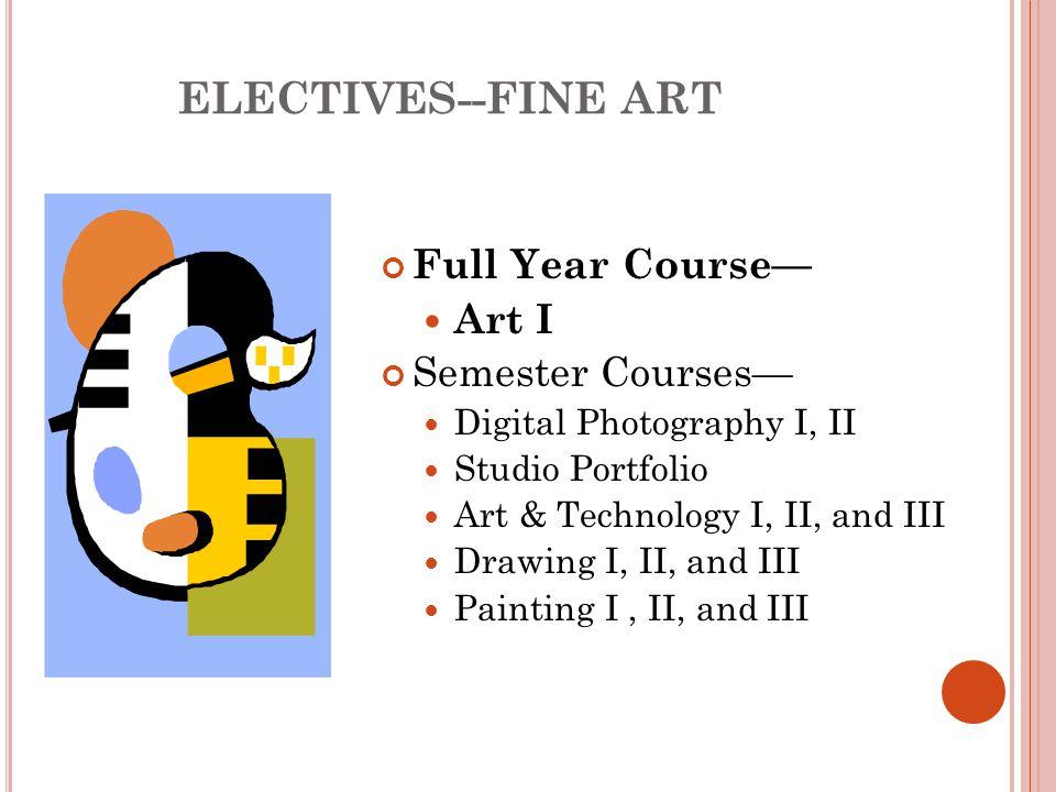 ELECTIVES--FINE ART Full Year Course— Art I Semester Courses— Digital Photography I, II Studio Portfolio Art & Technology I, II, and III Drawing I, II