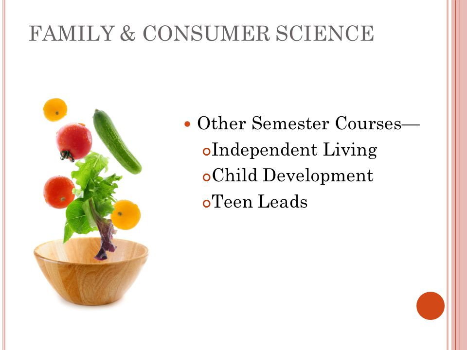 FAMILY & CONSUMER SCIENCE Other Semester Courses— Independent Living Child Development Teen Leads