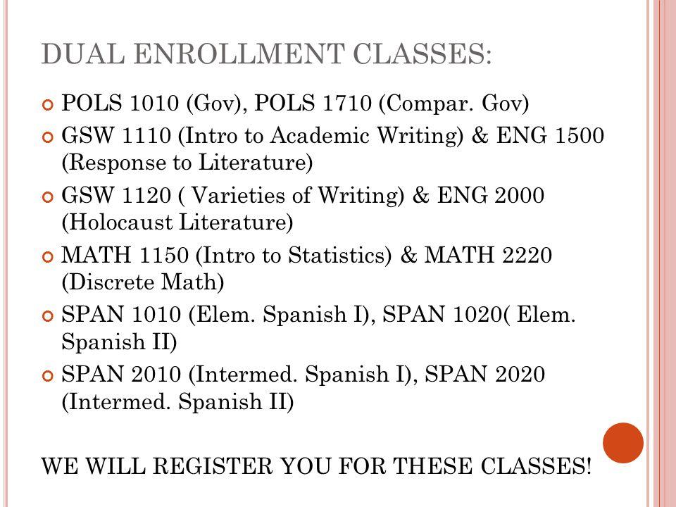 DUAL ENROLLMENT CLASSES: POLS 1010 (Gov), POLS 1710 (Compar. Gov) GSW 1110 (Intro to Academic Writing) & ENG 1500 (Response to Literature) GSW 1120 (