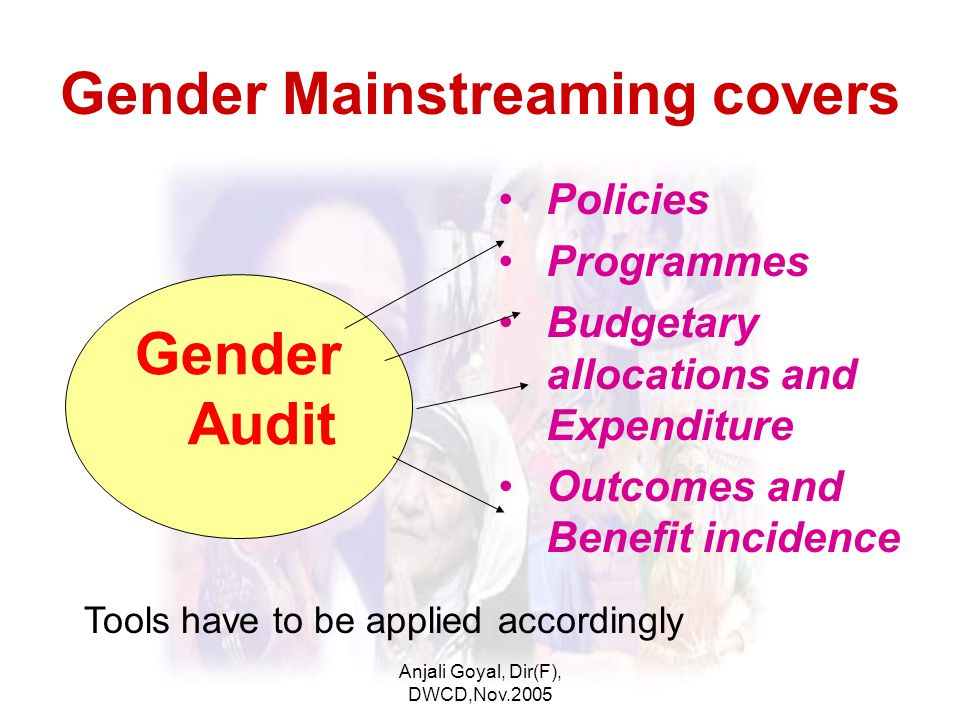 Anjali Goyal, Dir(F), DWCD,Nov.2005 Gender Mainstreaming covers Policies Programmes Budgetary allocations and Expenditure Outcomes and Benefit incidence Gender Audit Tools have to be applied accordingly