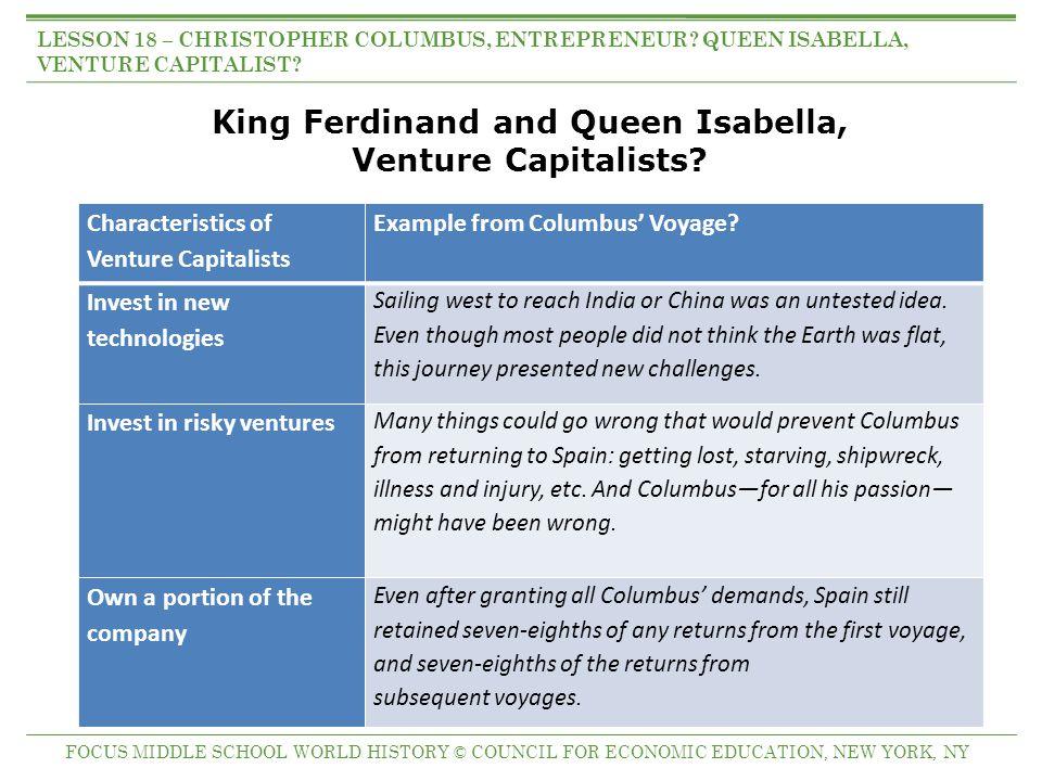 Columbus as Entrepreneur.Characteristics of Entrepreneurs Example from Columbus' Voyage.