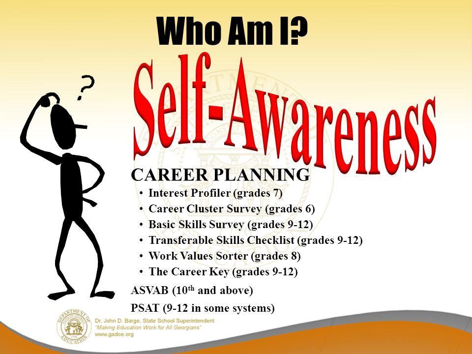 Who Am I? CAREER PLANNING Interest Profiler (grades 7) Career Cluster Survey (grades 6) Basic Skills Survey (grades 9-12) Transferable Skills Checklis