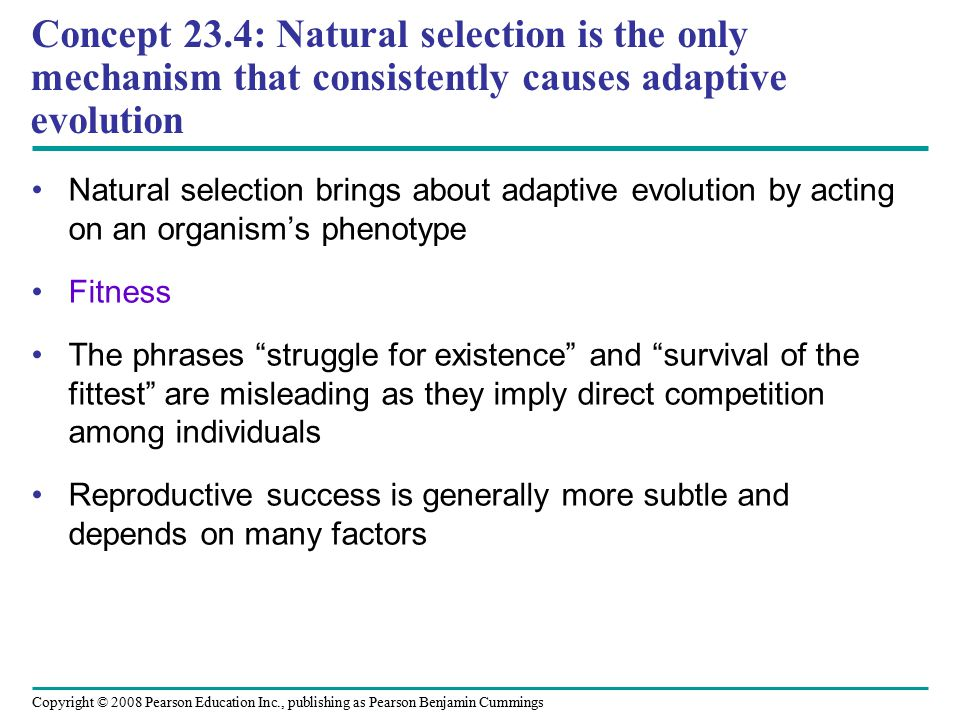 Copyright © 2008 Pearson Education Inc., publishing as Pearson Benjamin Cummings Natural selection brings about adaptive evolution by acting on an org