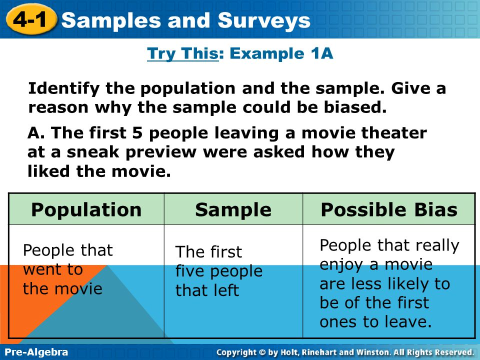 Additional Example 1A: Identifying Biased Samples Identify the population and the sample. Give a reason why the sample could be biased. A. A record st