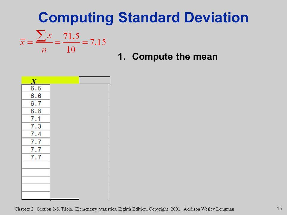 15 Chapter 2. Section 2-5. Triola, Elementary Statistics, Eighth Edition. Copyright 2001. Addison Wesley Longman Computing Standard Deviation 1.Comput