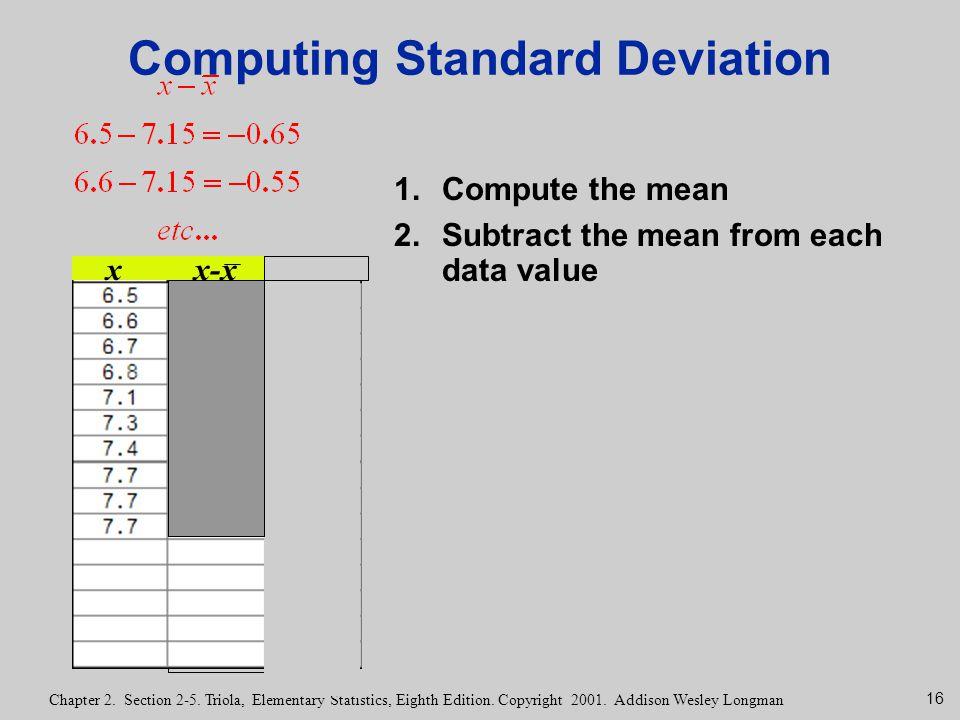 16 Chapter 2. Section 2-5. Triola, Elementary Statistics, Eighth Edition. Copyright 2001. Addison Wesley Longman Computing Standard Deviation 1.Comput