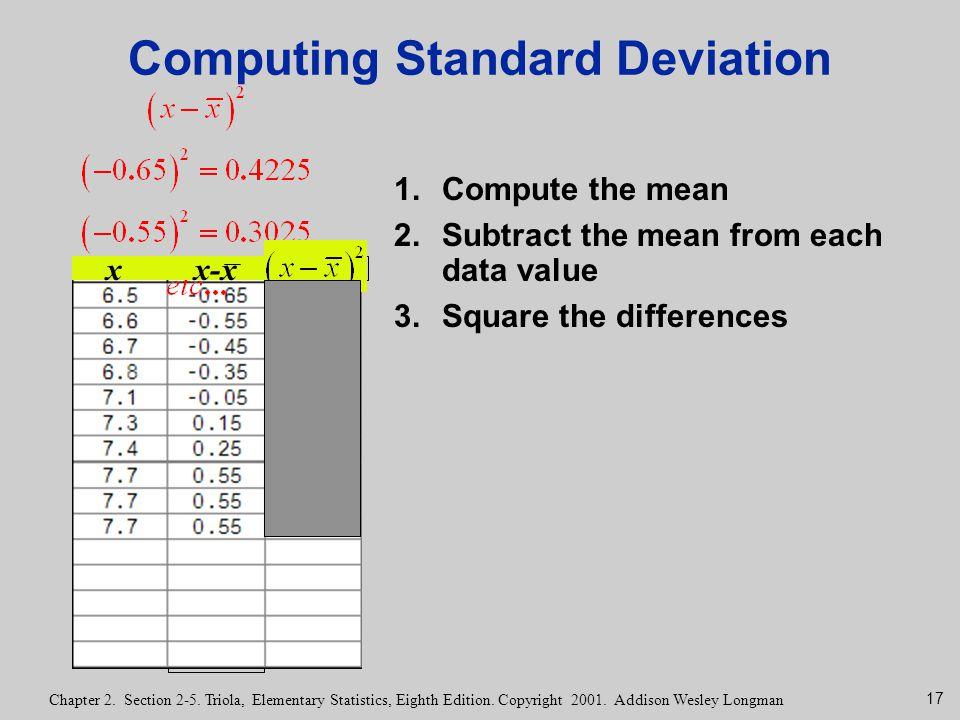 17 Chapter 2. Section 2-5. Triola, Elementary Statistics, Eighth Edition. Copyright 2001. Addison Wesley Longman Computing Standard Deviation 1.Comput