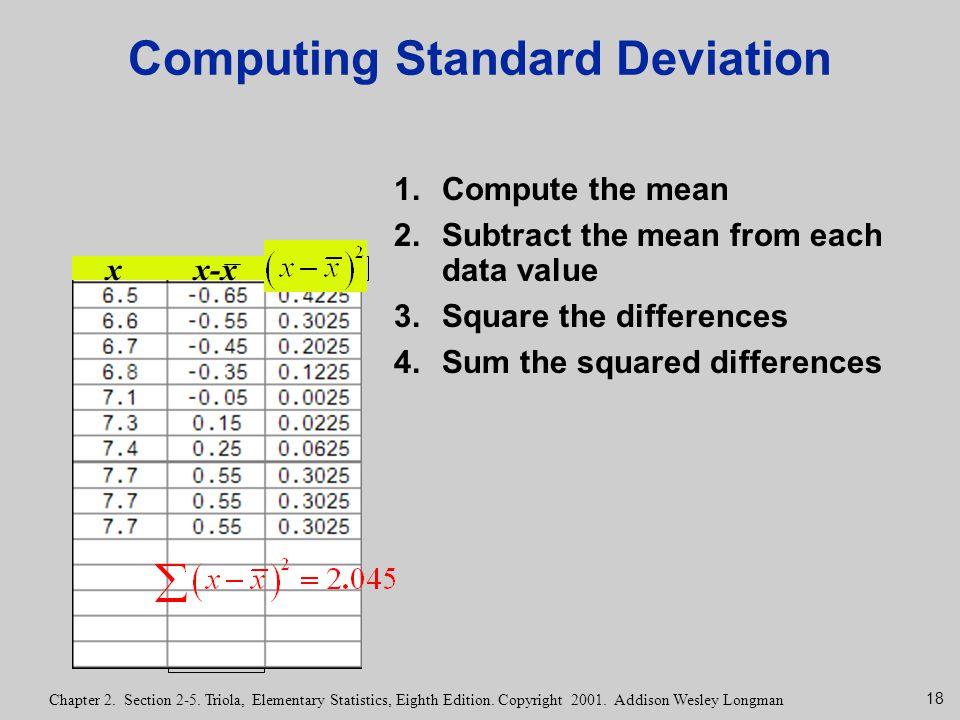 18 Chapter 2. Section 2-5. Triola, Elementary Statistics, Eighth Edition. Copyright 2001. Addison Wesley Longman Computing Standard Deviation 1.Comput