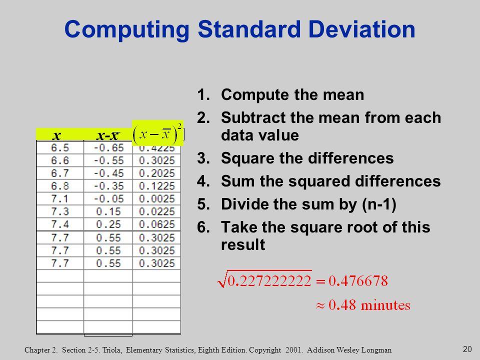 20 Chapter 2. Section 2-5. Triola, Elementary Statistics, Eighth Edition. Copyright 2001. Addison Wesley Longman Computing Standard Deviation 1.Comput