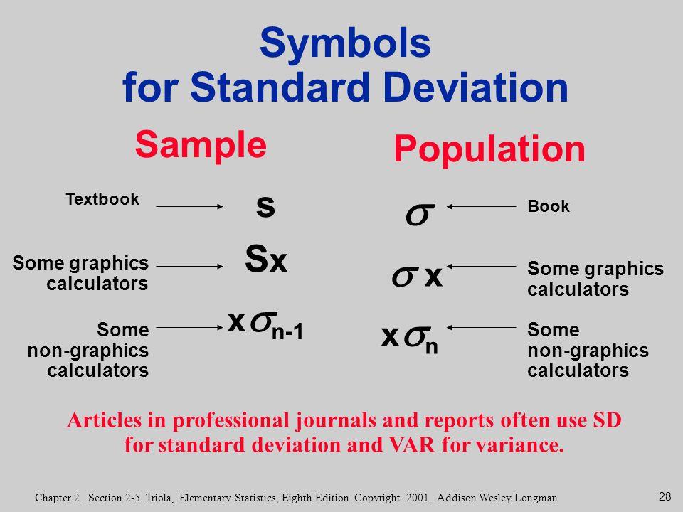 28 Chapter 2. Section 2-5. Triola, Elementary Statistics, Eighth Edition. Copyright 2001. Addison Wesley Longman Symbols for Standard Deviation Sample